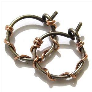 Mixed Metals Barbed Wire Huggie Hoops